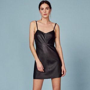 NWOT Reformation Jinx Black Leather Mini Dress